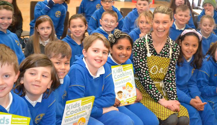 Trisha Lenihan with Ennis CBS pupils